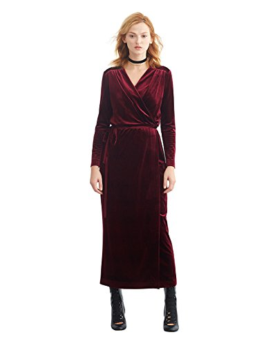 Simple Retro Women\'s Velvet Wrap Dress Long Sleeve V-Neck Belted ...