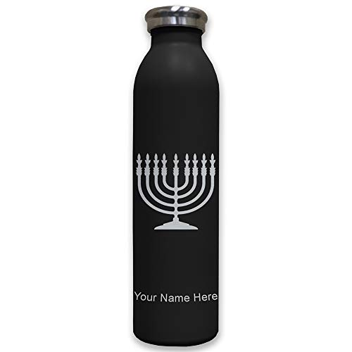 Personalized Menorah - Lasergram Sports Water Bottle, Menorah, Personalized Engraving Included (Black)