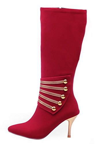 Side Zip Stiletto Riding Sexy Calf Toe Half Mid Medium Booties Red Boots IDIFU Pointed Up Womens Heels UTqXCS