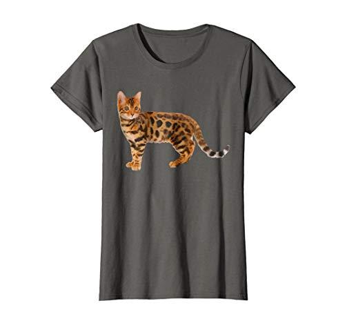Womens Bengal Cat Shirt - Bengal Cat T shirt Large Asphalt