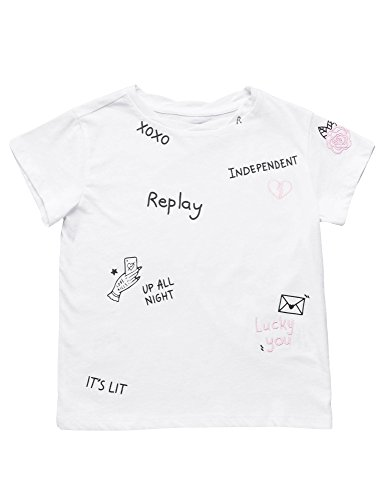 Replay Basic Cotton Jersey Girl's T-Shirt In White In Size 8 Years White by Replay