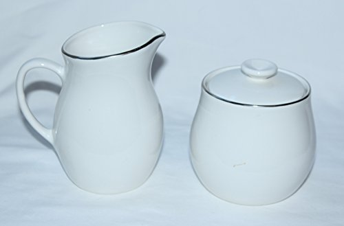 White Centura Coupe - Corning Centura White PLATINUM EDGE Coupe 12 oz Creamer and Sugar Bowl w/Lid