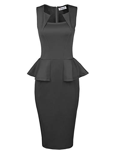 TAM WARE Womens Classy Neck Detail Sleeveless Zip-up Midi Dress TWLC6150-GRAY-US L