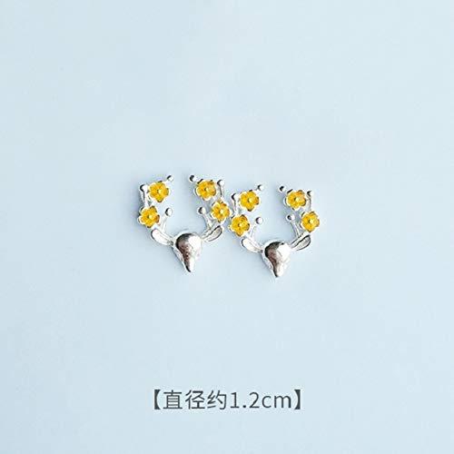 WTYKD Sterling Silver Earrings Earring Dangler Eardrop Women Girls Creative Mini Ear Bone Nail Enamel Drop s925 Student Short Hair (Blue Leaves (Blue Enamel Bone)