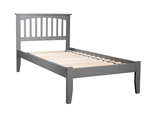 Atlantic Furniture AR8711009 Mission Platform Bed with Open Foot Board, Twin XL, Grey