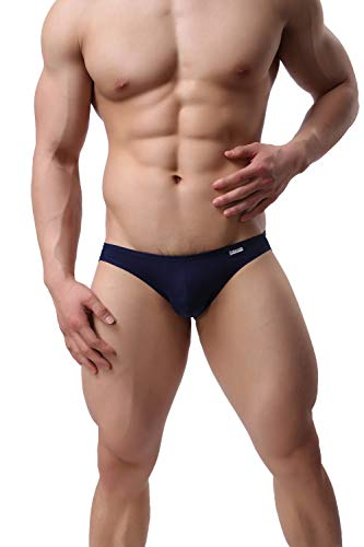 BRAVE PERSON Men\'s Jockstraps Underwear Male G-Strings Thongs Athletic Supporter Briefs (Navy, Large)