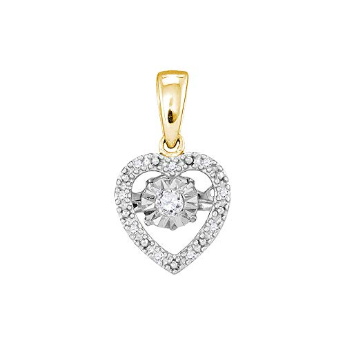 Diamond Moving Twinkle Solitaire Heart Pendant 1/12ct 10k Yellow Gold