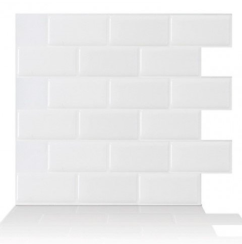 Tic Tac Tiles 1-Sheet 12 x 12 Peel and Stick Self Adhesive Removable Stick On Kitchen Backsplash Bathroom 3D Wall Sticker Wallpaper Tiles in Subway White
