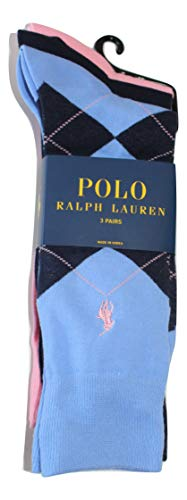 POLO RALPH LAUREN MENs Argyle Dress Socks (3 PAIRS) (PINK/NAVY/BLUE) ()