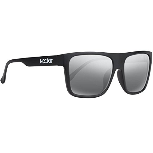 NECTAR Wide Flat Top Sunglasses with EuphoricHD Polarized Lenses and UV Protection (Matte Black Frames / Silver Mirror EuphoricHD Polarized - Nectar Sunglasses