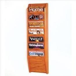 (Wooden Mallet 7-Pocket Cascade Magazine Rack, Medium Oak)