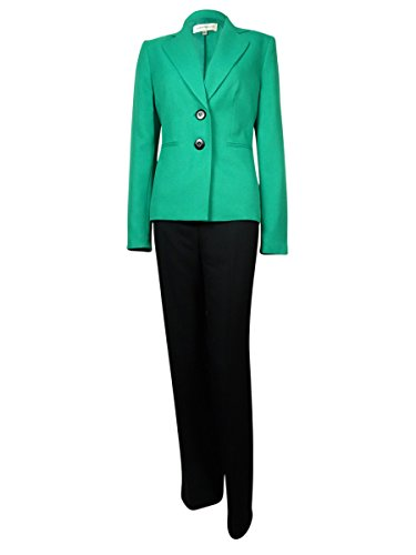 Evan Picone Womens Madison Ave 2PC Lined Pant Suit Green 6 ()