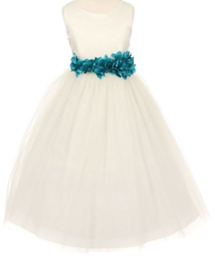 Little-Girls-Ivory-Elegant-Satin-Tulle-Ribbon-Sash-Flowers-Girls-Dresses