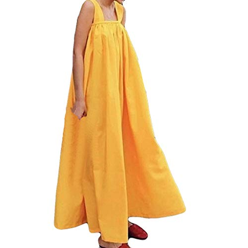 RAINED-Maternity Loose Beach Maxi Dress Women's Summer Casual Solid Sleeveless Dress Fashion Pregnant Baggy Long Dress Yellow