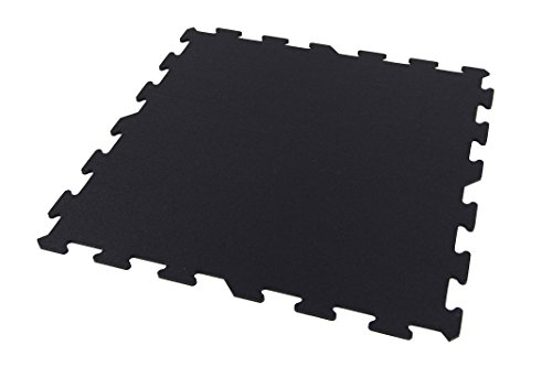 IncStores 8mm Strong Rubber Tiles (Black, 9 Center Tiles) Interlocking Rubber Gym Mats For Home Gym Flooring, Exercise Mats, Equipment Mats & Fitness Room Floors