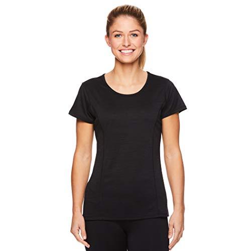 HEAD Women's Short Sleeve Workout Scoop Neck T-Shirt - Performance Tennis Crew Neck Activewear Top - Black Heather Mira, -