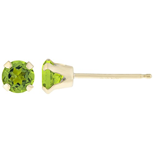 .20 CT Round 3MM Green Peridot 14K Yellow Gold Stud Birthstone Earrings