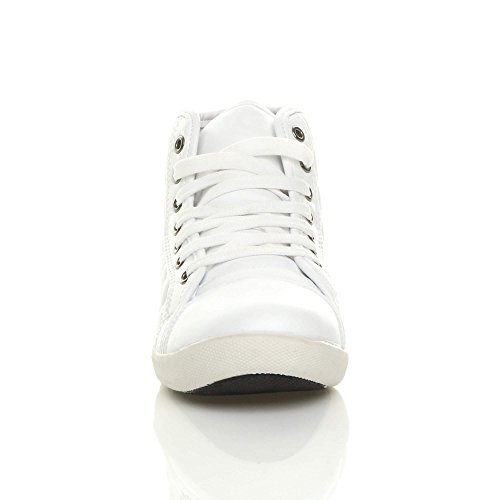 Plate Blanc À Chaussures Baskets Sport Femmes Lacets De Taille Matelassé Tennis Uvwpx