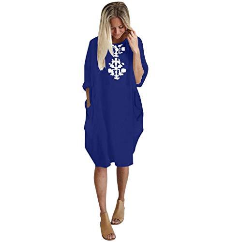 Casual Plus Size Loose Dress Women Ladies Crew Neck Long Tops Pocket Dress Blue -
