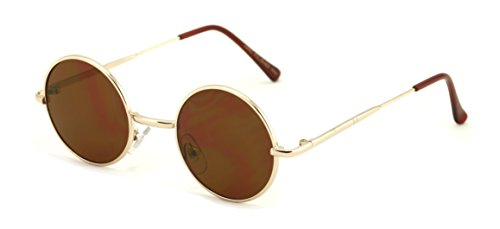 Casual Fashion Small Round Circle Thin Metal Frame Unisex Sunglasses Lennon - Frames Small Circle