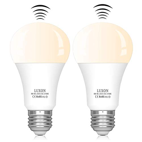 Motion Sensor Light Bulb 9W Smart Bulb Radar Dusk to Dawn LED Motion Sensor Light Bulbs E26 Base Indoor Sensor Night Lights Soft White 2700K Outdoor Motion Sensor Bulb Auto On/Off
