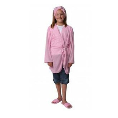 [Girls Pink Pamper Party Long Sleeve Robe] (Salon Girl Costumes)