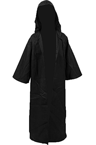Cosplaysky Kids Robe Halloween Costume Tunic Hooded Cloak Black Medium -