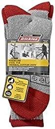 2-Pack Men's Steel Toe Thermal Cotton Crew Socks - Red / Grey 6-12
