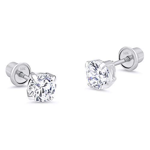 (10k White Gold 6mm Basket Round CZ Cubic Zirconia Solitaire Children Screw Back Baby Girls Earrings)