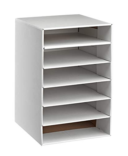 AdirOffice 6-Shelf Organizer - Corrugated Cardboard - Multipurpose Document Stand Rack - Space Saving Storage Rack - for Home, School & Office Use (White)