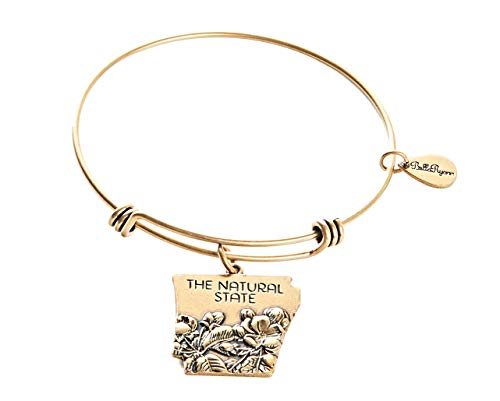 (BellaRyann State Expandable Bangle Charm Bracelet in Vintage Gold (Arkansas))