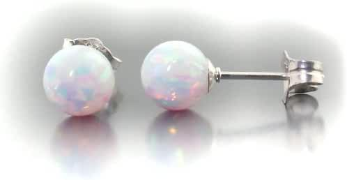 Trustmark 925 Sterling Silver 6mm Fiery White Created Opal Ball Stud Post Earrings, Lorraine