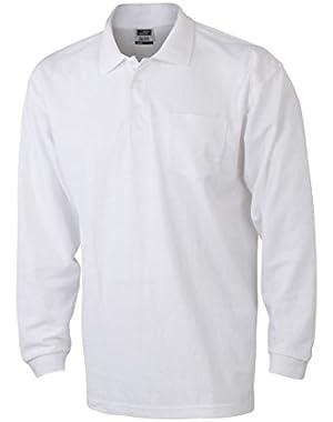 JN029 Mens Pique Long Sleeve Polo Shirt