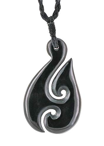Hook Meaning Fish Maori (Earthbound Pacific Stylized Zealand Maori Black Horn Fish Hook Necklace with Koru)