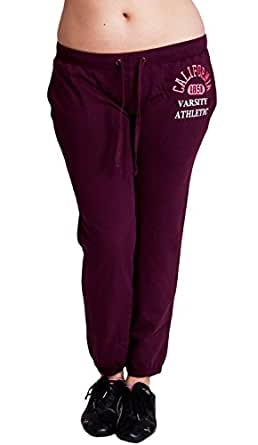 Wine Red Ladies Plus Size California 1850 Varsity Logo Athletic Drawstring Sweatpants