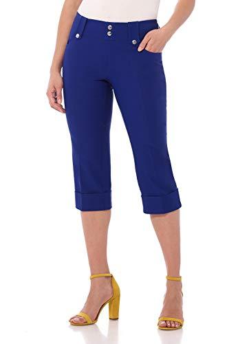 Modern Fit Crop - Rekucci Women's Ease in to Comfort Fit Modern Classic Cuffed Capri (18,Sapphire)