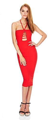 Doris Aderente Di Donna Ritaglio Sexy Abbigliamento Rosso Vestito Halter wpXOAa4