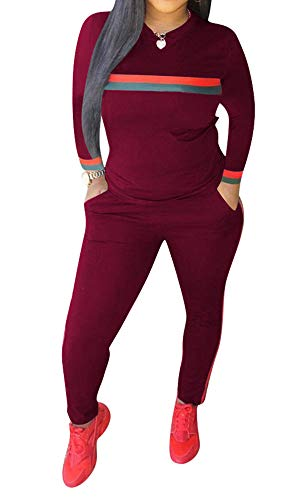 Women's Sweatsuits, Women's 2 Pcs Tracksuit - Round Neck Long Sleeve Top Stripe Long Pants Jumpsuit Outfits Set - Sport ()