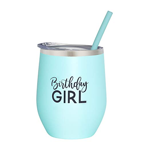 Birthday Girl | 12 oz Mint Stainless Steel Vacuum Insulated Wine Tumbler with Lid and Straw (ENGRAVED) | Birthday Wine Tumbler for Her 21st, 25th, 30th, 35th, 40th, 50th, 60th, 70th, 80th ()