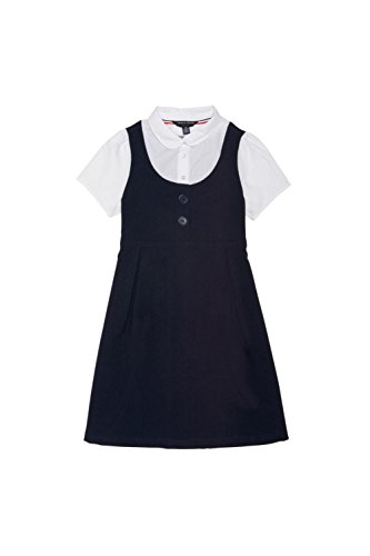 French Toast Big Girls' Peter Pan 2-Fer Dress, Navy, 10 School Uniform Jumper Dress