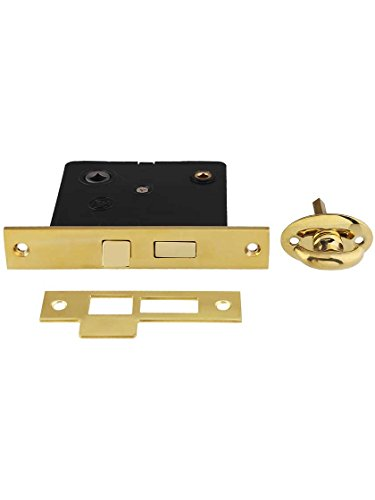 B&M Hardware 8919-PB Reproduction Privacy Mortise Lock with Thumbturn - 2 1/2