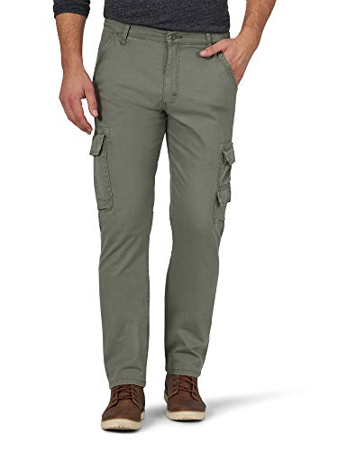 Wrangler Authentics Men's Regular Tapered Cargo, Dusty Olive, 34W x 30L