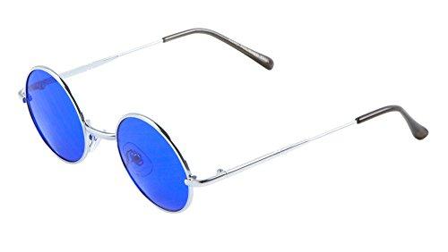 Harry Porter Round Sunglasses John Lennon Ozzy Osbourne Flat Lens (Blue, 40)