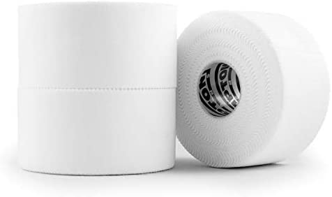 (3 Pack) White Athletic Sports Tape VERY Strong EASY Tear NO Sticky Residue BEST TAPE for Athlete & Medical Trainers. PERFECT on bat, Lacrosse / Hockey stick, Lifters, Climbers & Boxing