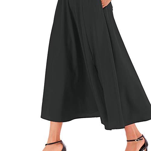 Taille Bonjouree Longue Patineuse Femme Noir Haute Vintage Chic Jupe qqHCwEv