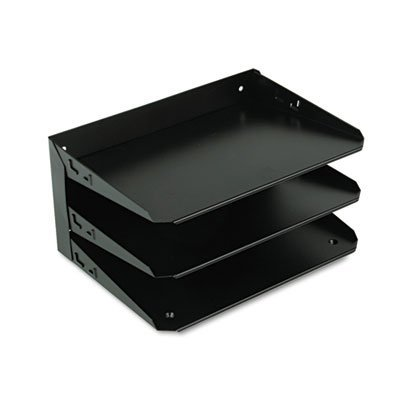 (Steelmaster Multi-Tier Horizontal Letter Organizers, Three Tier, Steel, Black, Sold as 1 Each)