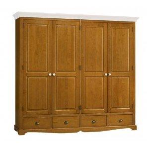 Schönen Möbel nicht Liebe–Schrank Kleiderschrank 4Türen Kiefer honig Oberseite weiß