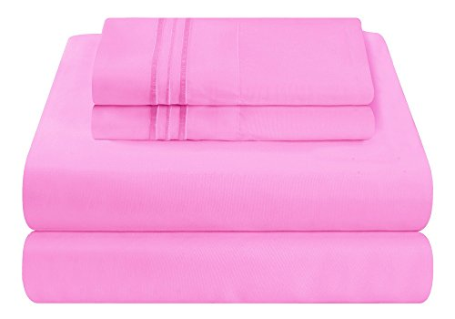Mezzati Luxury Bed Sheet Set - Soft and Comfortable 1800 Prestige Collection - Brushed Microfiber Bedding (Pink, Queen Size)