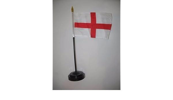 "St St George George/'s Cross England 4/""x6/"" Flag Desk Set Table Stick Black Base"