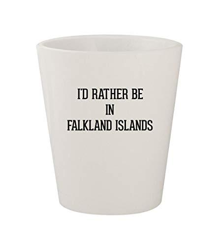 I'd Rather Be In FALKLAND ISLANDS - Ceramic White 1.5oz Shot Glass ()